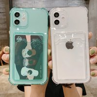 Card Bag Transparent Phone Cases For iPhone 13 11 12 Pro mini Max XR XS X 7 8 Plus Shockproof Soft Bumper Clear Cover Capa