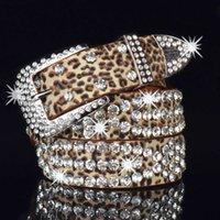 Super Glittering Diamond Studded Belt Fashion Luxury Designer Western Cowboy Jeans Sparkle Bling Leather Belts For Woman Men