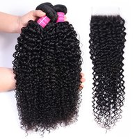 Curly Hair 3 Bundles With Closure 4x4 Natural 1B Color Remy Human Hair Bundles Curly Weaves
