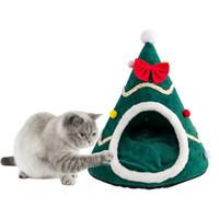 개집 펜 크리스마스 트리 모양 애완 동물 개 고양이 동굴 잠자는 침대 반 닫힌 따뜻한 부드러운 겨울 고양이 케이지 선물