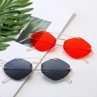 النظارات الشمسية النساء 2021 نظارات معدنية خمر بدون شفة gafas مضللة ظلال غير النظامية للرجال الصيف والسيدات مع قطعة قماش نظيفة في المربع