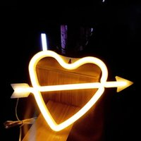 Night Lights Neon Heart Lamps LED Cupid's Bow Sign Shaped Decor Wall Light For Christmas,Birthday Party,Kids Room,Living Room,Wedding