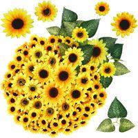 230pcs Artificial Sunflower Heads Set Fake Silk Sunflowers Wedding Home Decor Bride Holding Flowers DIY Handicrafts Decorative & Wreaths