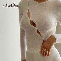Artsu Chic Moda Uzun Kollu kadın En Cut-Out Güz Yuvarlak Boyun Düğme Yukarı Seksi İnce Giyim Streetwear 210322