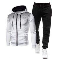 2020 new men's casual dot zipper Pullover Sweater Set
