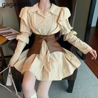 Gaganight мода женская рубашка платье с длинным рукавом сплошной плюс размер леди шикарный корейский платья оборками Vestidos с поясом Dropshipping 210323