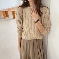 Qoerlin Herbst dünne Pullover für Frauen Mode Langarm Oansatz Bottoming Pullover Weibliche Süßigkeiten Farbe Strick Jumper Twist Ponch