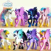 Lenspe 14cm PVC Unicorn Princess Luna Celestia Rainbow Horses Figurines Kawaii Girls Meilleurs amis cadeaux poupées jouets