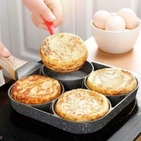 4 Hole Fried Egg Burger Pan Non-stick Ham Pancake Maker Wooden Handle Suitable Gas Stove And Induction Cooker Kitchen Tools 210319