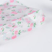 Clear Plastic Shopping Carrier Bags With Handle Gift Boutique Packaging Floral Rose Printed Large Cute 5 Sizes 1934 V2