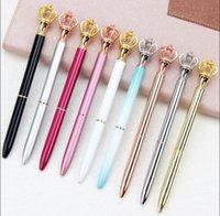 Creativity Crown Adornment Crystal Pen Gem Ballpoint Ring Wedding Office Metal Rings Roller Ball Pens