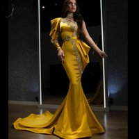 Ouro cristal sereia vestidos de noite 2020 um ombro frisado baile vestido gola alta formal formales