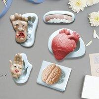 Moldes del corazón de Halloween forma de cerebro humano vela de chocolate de azúcar de azúcar torta de galletas para hornear molde de silicona BWD10524