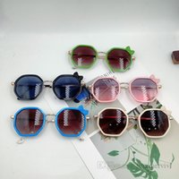달콤한 여자 격자 무늬 활 선글라스 여름 아이 다각형 프레임 비치 선글라스 어린이 UV 400 야외 썬 블록 Q2240
