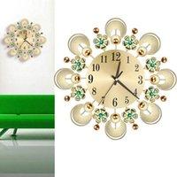 Wall Clocks European Retro Diamond Inlaid Flower Iron Clock Living Room Bedroom Kitchen Bathroom Silence Home Decor