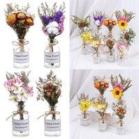 Decorative Flowers & Wreaths 1 Bouquet Natural Dried With Vase Set Transparent Glass Bottle Tabletop Living Room Decorations