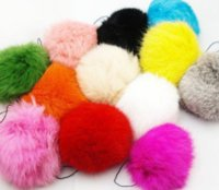 12PX Real Rabbit Fur Ball Key Chains Ring Mobile Phone Tag Charm String Mixed Color DFF3219