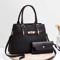 Middle aged and elderly handbag women's bag 2021 new embroidered line Lingge fashion mother's bag PU Leather One Shoulder Msenger Bag