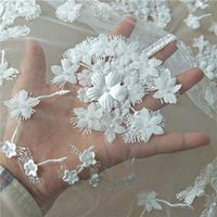 Ribbon 2D Appliqued Beading Lace, Light Ivory Florals Tulle Lace Fabric For Girls Wedding Dress, 2021 Luxury Designs 1 Yard