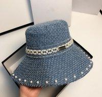 Tasarımcılar Şapka Kadın Şapkalar Inci Kapaklar Patchwork Yıkanmış Güneş Kovası Katı Geniş Ağız Pamuk Plaj İki Taraflı Balıkçılık Kap