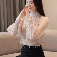 Sequined Women's Chiffon Blouse Autumn Knit Long Sleeve Shirt Fashion Collar Top Korean Elegant Slim Basic Clothes Blouses & Shirts
