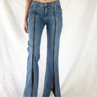 Women's Jeans Elegant Lady Zipper Split Skinny Vintage Low Rise Denim Long Trousers Women 2000s Aesthetic Flare Pants Capris Streetwear
