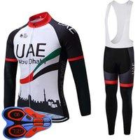 2019 جديد فريق الإمارات الجديدة الرجال الدراجات جيرسي مجموعة أعلى جودة تنفس طويلة الأكمام دراجة قميص مريلة السراويل دعوى mtb دراجة رياضية موحدة Y111503