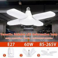 Pendant Lamps Household LED Bulb E27 Ceiling Fan Lamp 60W Lampada 220V Folding Blade Angle Adjustable For Home Garage Lighting