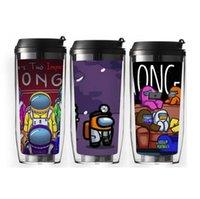 US сток для творчества среди соломенной чашки мультфильм двойные пластиковые тумблеры 400 мл путешествия портативное плоское дно с крышкой уплотнения
