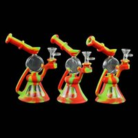 8inch Glass Bong Water Pipes oil rig hookahs silicone smoking hand pipe round beaker
