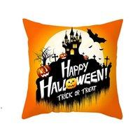 Halloween-Kissenbezug 2021 grenzüberschreitende Mode Produkt Cartoon-Kürbis-Schloss Print Peach Skin Samt Kissenbezug Dwe8659
