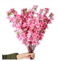 100pcs 인공 체리 봄 매실 복숭아 꽃 나무 웨딩 파티 장식 화이트 레드 옐로우 핑크 색상에 대 한 실크 꽃 나무