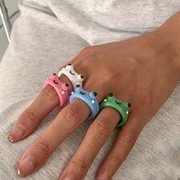 Kleurrijke hars kikker ring 3d schattige sieraden accessoires voor meisje kerstcadeau