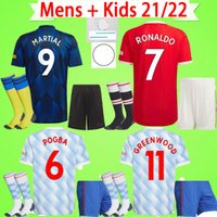 Kit enfants adultes avec chaussettes 21 22 maillots de football Manchester United B. FERNANDES garçons ensembles SANCHO CAVANI 2021 2022 RASHFORD costumes pour hommes MAN UTD