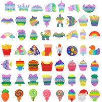 Julfest Favorit Rainbow Rolig Fidget Toy Antistress Leksaker för vuxna Barn Push Bubble Sensory Autism Special Behöver Angst Stress Gifts