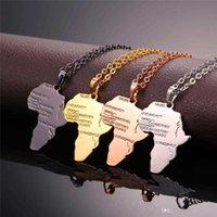 المجوهرات الإثيوبية العصرية جودة عالية الهيب هوب سبائك قلادة الذهب 4 اللون قلادة سلسلة أفريقيا خريطة قلادة هدية للرجال / النساء