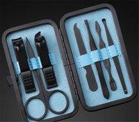 Nail Art Kits 30sets 7 em 1 manicure conjunto profissional preto de aço inoxidável kit de dedo alicate unhas pedicure toe também