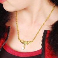 Цепи 24K Gold наполненные женские кулон ожерелье мода женские колье Ожерелья ювелирные Изделия простые дамы летающие подарки сердца