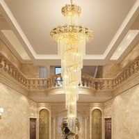 Modern Luxury LED Crystal Chandeliers Gold Villas Spiral Stairs Pendant Lights For Hotel Lobby Restaurant Exhibition Hall Sale Center Lamps Droplights Lighting