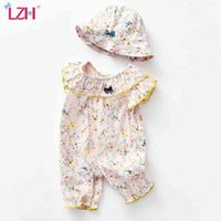 LZH Summer Outing Baby Onesies Clothes For Newborn Baby Girls Jumpsuit Cute Infant Kids Romper Floral Kid Clothing Sent Hat 210426