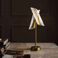 Postmodern Basit LED Masa Lambası Akrilik Kılavuz Dikey Lamba Yaratıcı Nordic Yatak Odası Masa Lambası Oturma Odası Çalışma Dekoratif Masa Işık Otel Ofis LED Zemin Lambaları