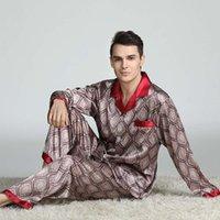 망 실크 새틴 잠옷 세트 파자마 잠옷 세트 잠옷 Loungewear L, XL, XXL, 3XL 레트로 유럽 및 미국 남성용 잠옷