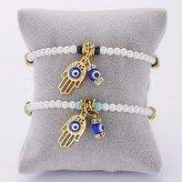 Bracelets de charme chanceux Hamsa main pendentif bracelet perle perlé turc turc oeil pour femmes hommes couple couple fait main amitié bijoux cadeaux