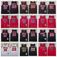 Mitchell Ness Basquetebol Scottie Pippen Jersey 33 Dennis Rodman 91 Michael 23 Equipe Respirável Vermelho Listra Branco Preto Retrocesso Vintage Top Quality