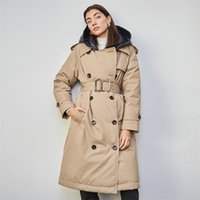 British Down Trench Coat Winter White Duck Down Jacket Women Hooded Long Thick Warm Jackets Puffer Feather Female Parka Mujer 210913