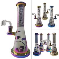 Colorful Rainbow Bongs Matte PYREX Glass Bong Hookahs Showerhead Perc Cartoon 14mm Female Joint Smoking With Quartz Banger Nail Straight Tube Dab Water Pipe Oil Rigs