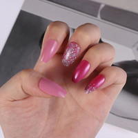 False Nails Women Fashion Detachable Full Cover Artificial Nail Tips Fake Pink Glitter Ballerina Wearable