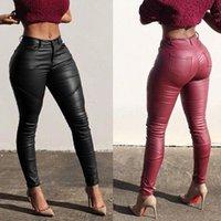 Women's Leggings Winter Women Fashion Autumn Warm Leather Pants Stretch Skinny Sexy Black Red
