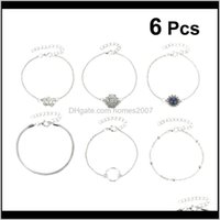 Charm Bracelets Jewelry6Pcs Bohemian Style Bracelet Hollow-Out Bangle Elegant Wrist Jewelry Hand Decoration Drop Delivery 2021 Vjfkd