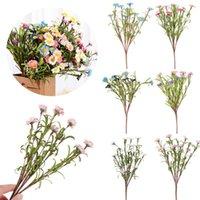 1Bunch Mini Simulación Daisy PE caucho multicolor flores artificiales eterna vida salvaje crisantemo fiesta boda casa decoración decorativa w